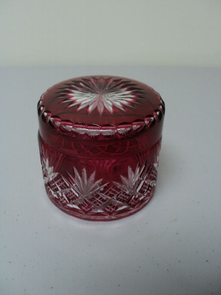 GORGEOUS CRANBERRY CASED CUT-TO-CLEAR DRESSER BOX, c. 1900