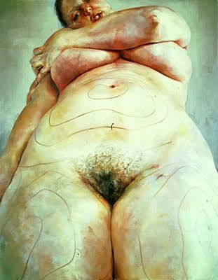 """""""plans"""" by Jenny Saville    A painting with pre- plastic surgery markings..."""