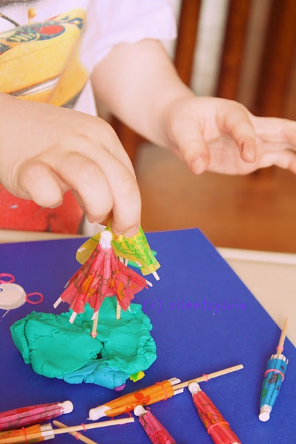 Playdoh and paper umbrellas = tropical fun on the island