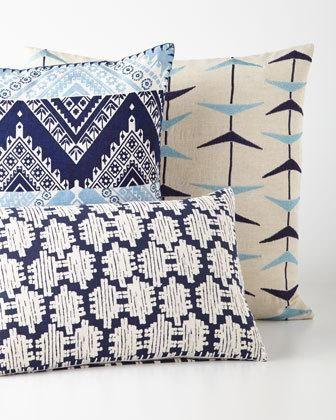 -6NUD John Robshaw  Blue Bayou Chevron Pillow Blue Bayou Patterned Pillow Blue Bayou Boomerang Pillow