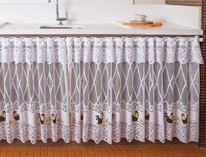 cortina de renda de galinha para pia de cozinha