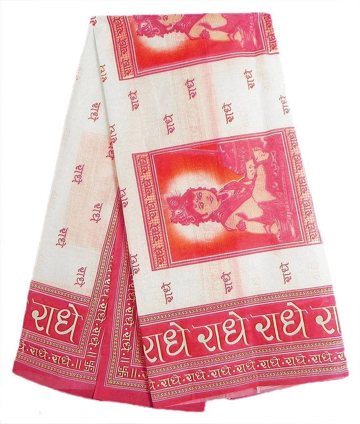 Light Cream Angavastram with Radhey Radhey Print (in Hindi) and Bal Gopal Picture (Cotton)