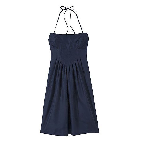 Silk Halter Dress with Pleats ($148) ❤ liked on Polyvore featuring dresses, women, empire waist dresses, blue silk dress, pleated skater skirt, silk dress and empire waist cocktail dresses