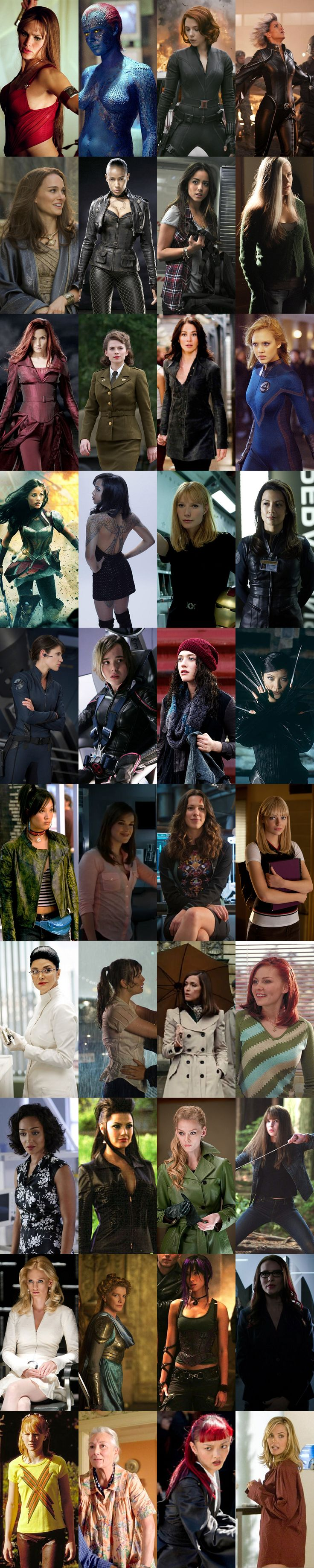 """Women of Marvel, stand to unite! Fight for what you believe! We gain more power as our numbers slowly grow, so unite!"" Elektra, Mystique, Natasha Romanoff; Black Widow, Storm, Ororo Munroe, Jane Foster, Aunt May, Skye, Jemma Simmons, Simmons, Maria Hill, Victoria Hand, Emma Frost, Jean Grey, Frigga, Girl in the Flower Dress, Viper; Madame Viper, Darcy Lewis, Agent Hill, Betty Ross, Mary Jane Watson, Gwen Stacey, Typhoid Mary, Peggy Carter, Kitty Pryde & Abby Miller."