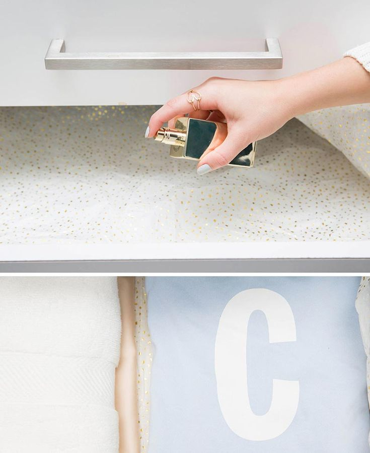 16. Cubre tus cajones con papel de seda y rocíalo con tu aroma favorito para que tu ropa y toallas huelan increíble.