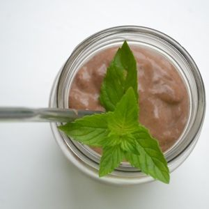 Raw Cacao Mint Shake with Avocado, Collagen, & Fresh Mint