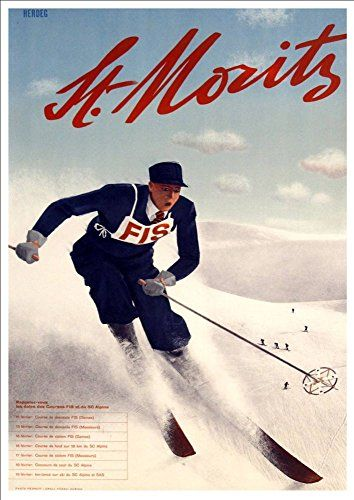 'St. Moritz - Switzerland' (8) - A4 Glossy Art Print Taken From A Rare Vintage Travel Poster by Vintage Travel Posters http://www.amazon.co.uk/dp/B01BHPISMS/ref=cm_sw_r_pi_dp_mKgTwb1KQGAGN