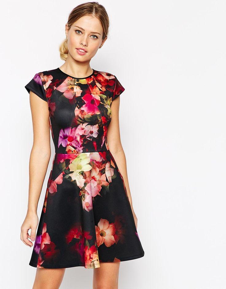 Image 1 ofTed Baker Skater Dress in Cascading Floral Print
