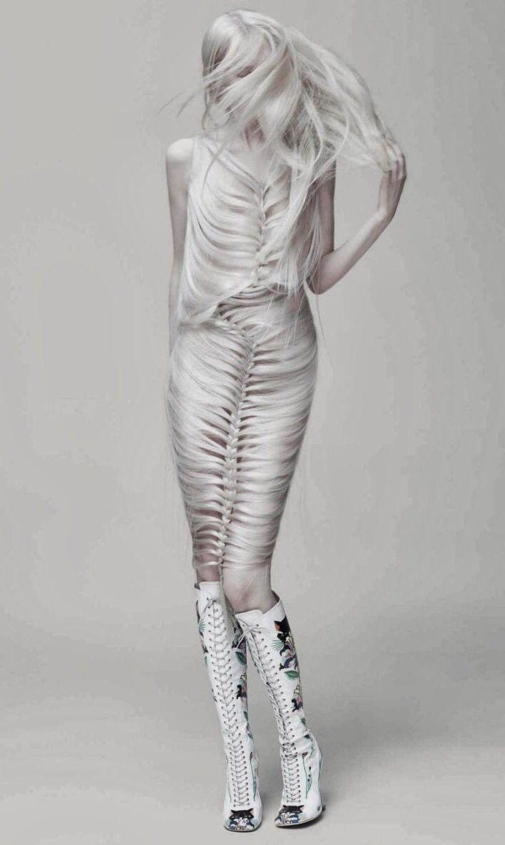 Unique Artistic Fashion - all white braided hair dress; avant garde fashion design // Ph. Johnny Dufort