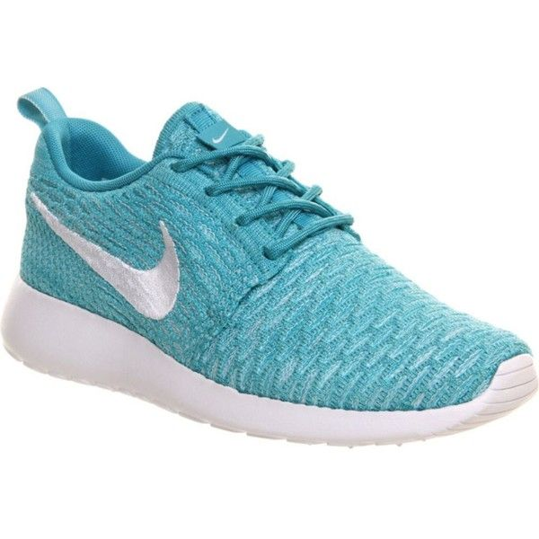 NIKE Roshe Run Flyknit trainers ($150) ❤ liked on Polyvore featuring shoes, sneakers, nike, sports turquoise wh, sports trainer, lace up sneakers, sports footwear, laced shoes and sport shoes