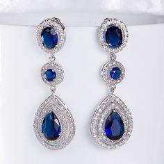 Sapphire Blue Wedding Earrings  Wedding Jewelry Bridesmaid Earrings Bridesmaid Accessories Dangling Teardrop Earrings stl160