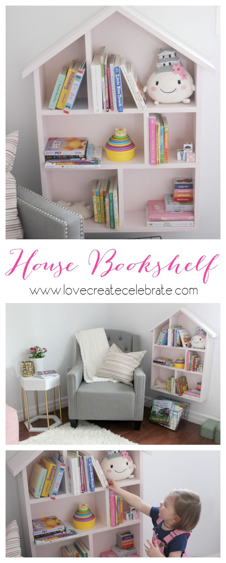 DIY House Bookshelf for a child's bedroom or playroom. Cute decor piece! Includes tutorial and design plans.