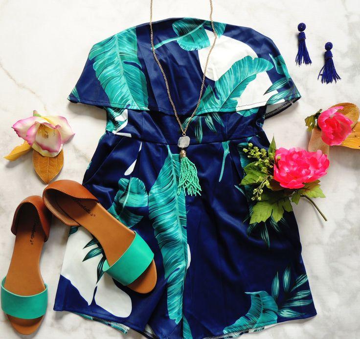 Tropical breezes are calling- shop our beach ready looks today! Key West Tropical Print Romper- Blue + Multi Brigit Open Toe Flats- Aqua Havana Beaded Tassel Earrings- Blue Vizcaya Crystal Stone Tassel Earrings