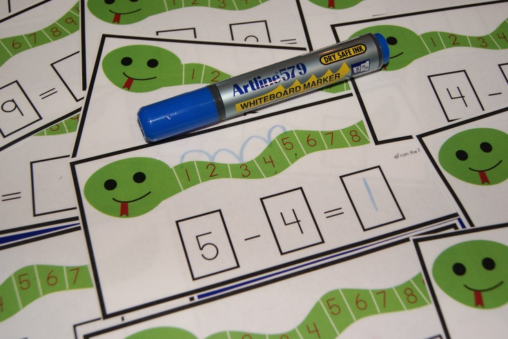 Snake Count Back Cards  Math Center   Small Group Activity for Subtraction