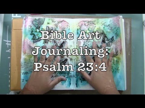 Bible Art Journaling: Psalm 23:4 - initial sprayed colors on gesso -smooched to second page