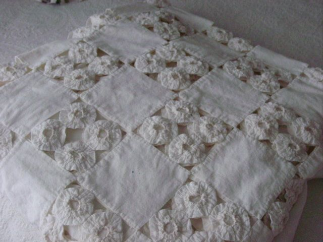 Vintage YoYo Quilt in White Reserved for Branch by Serenities