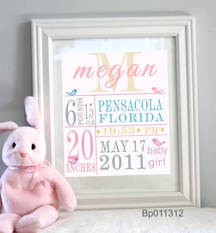 Nursery Decor Custom Baby print Sweet bird  Personalized With Your Name and Colors. $18.95, via Etsy.