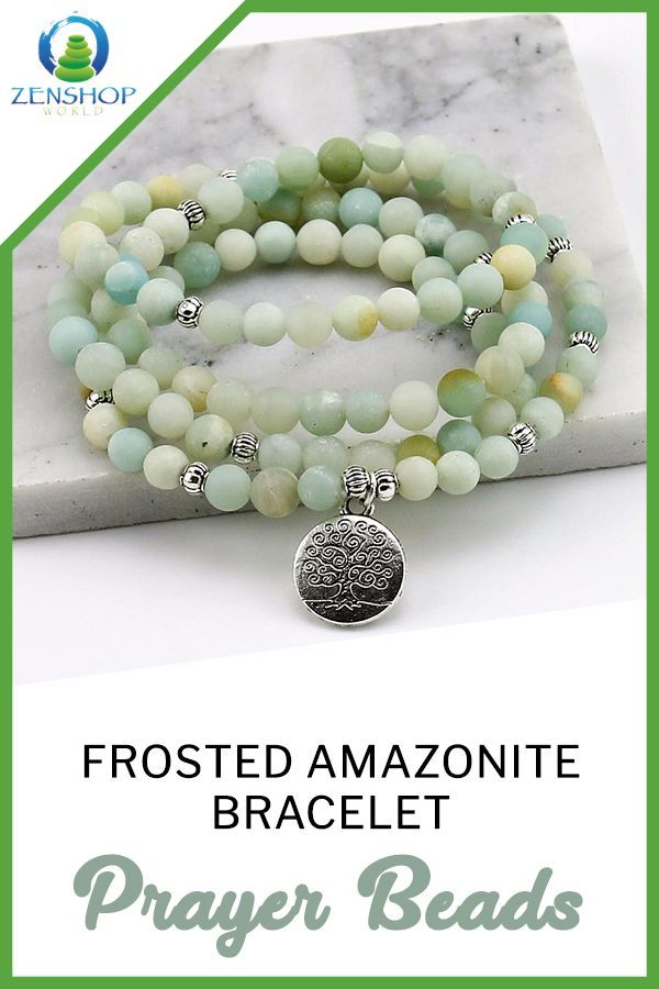 Frosted Amazonite Bracelet Prayer Beads 6mm Necklace For