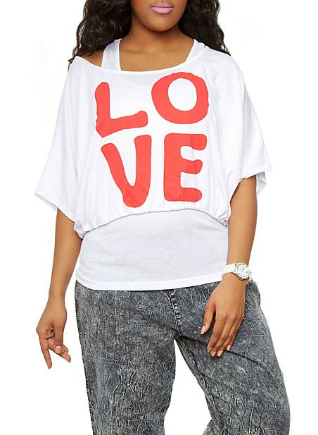 Rainbow Shops Plus Size 2-in-1 Love Crop Top $10.99