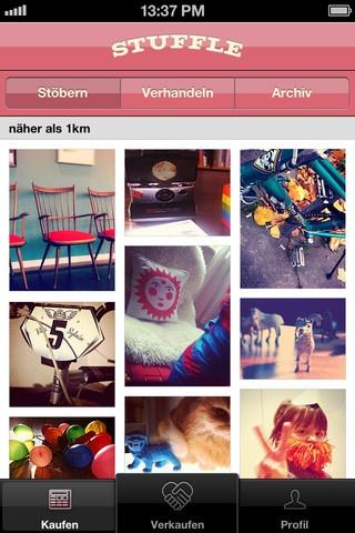 Keine Foto-App, aber eine App, die Fotos braucht. Und das ist gut so. InstaFlohmarkt quasi. Stuffle - http://stuffle.it