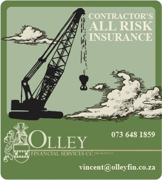 We provide our clients in the construction and engineering industries with Contractor's All Risk insurance cover.  This means that the site is protected against the fallout from unplanned and damaging incidents.  Contact us for a quote at celri@olleyfin.co.za