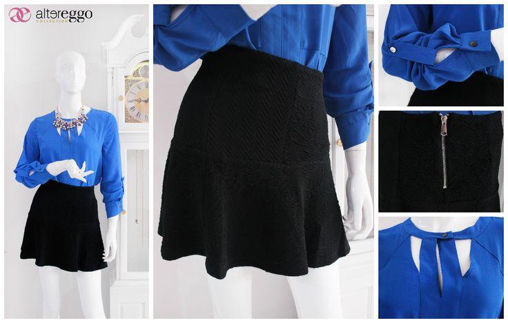 #moda #fashion #otoño #invierno #2014 #nueva #temporada #nueva #coleccion #NewCollection #moda #para #chicas #blusa #cobalto #brillante #azul #flada #skate #negra
