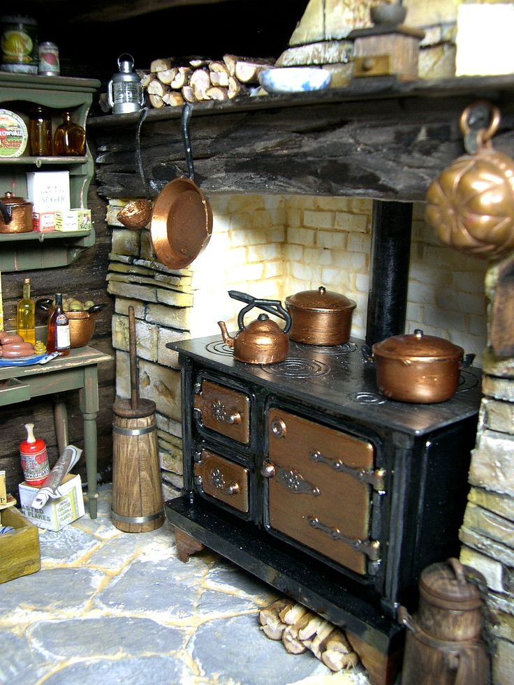 Old stove with copper pots