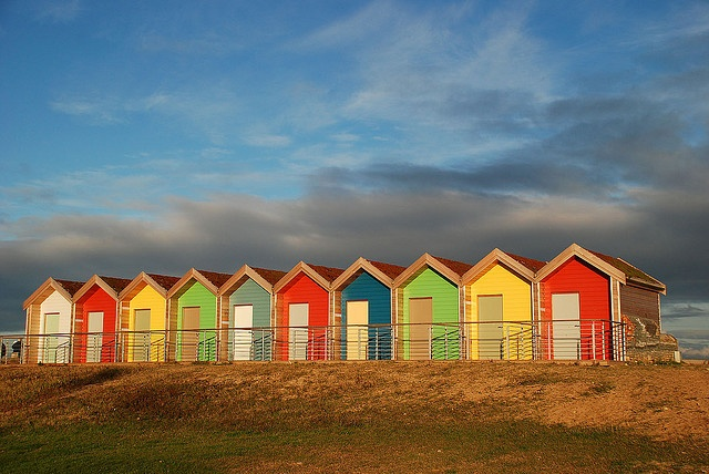 beach huts all in a row