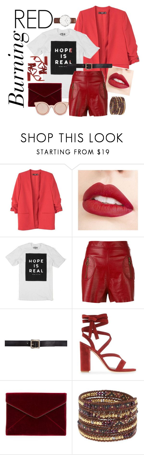 """Untitled #46"" by bebebelabee on Polyvore featuring MANGO, Jouer, Philosophy di Lorenzo Serafini, Maison Margiela, Gianvito Rossi, Rebecca Minkoff, Fendi, Daniel Wellington and Chan Luu"