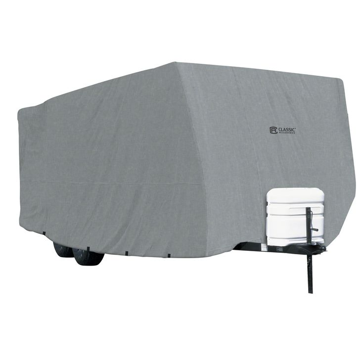 """Features:  -Includes storage bag and tie down rope.  -Travel trailer RV Cover.  ProductType: -RV cover.  Color: -Grey.  Material: -Polypropylene. Dimensions:  Overall Height - Top to Bottom: -104"""".  O"""