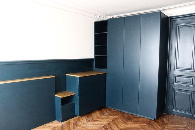 dressing sur mesure en médium peint en Hague Blue, murs peints en hague blue et ammonite de farrow and ball