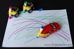 Zooming pens: Fasten colored pens to cars and let your child zoom away with colorful lines and designs