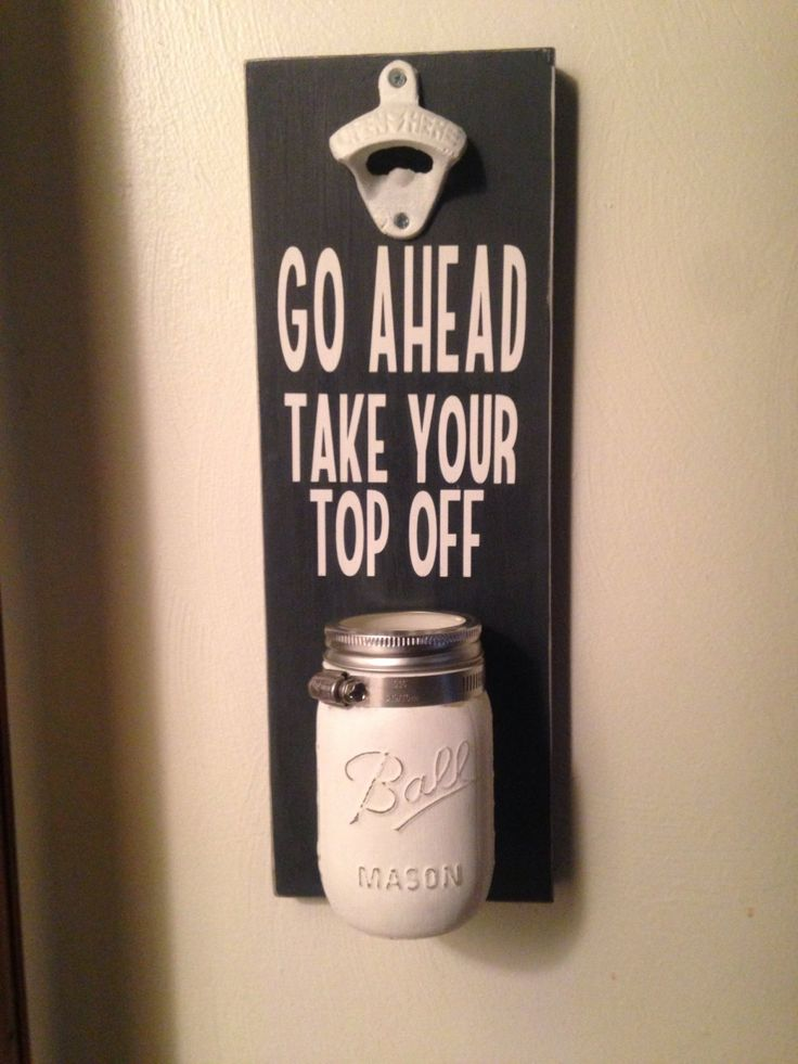 Mounted Beer bottle opener with Mason jar cap catcher by GottaBeASign on Etsy https://www.etsy.com/listing/465399461/mounted-beer-bottle-opener-with-mason