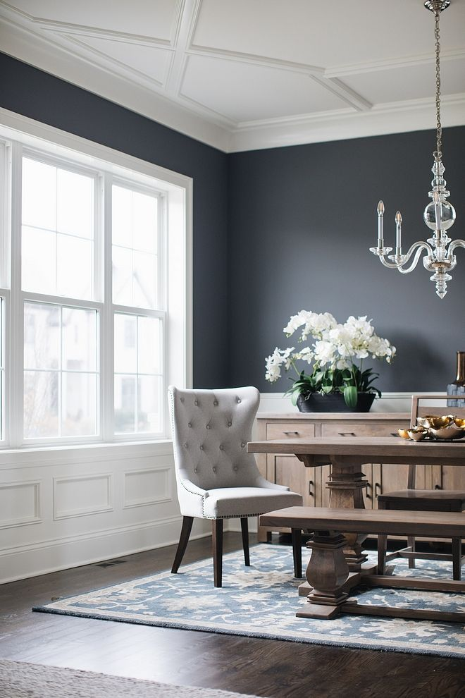 White Wainscoting Trim And Ceiling Paint Color Is Benjamin Moore Simply White With Dark Charcoal Walls Dining Room Colors Dark Dining Room White Wainscoting