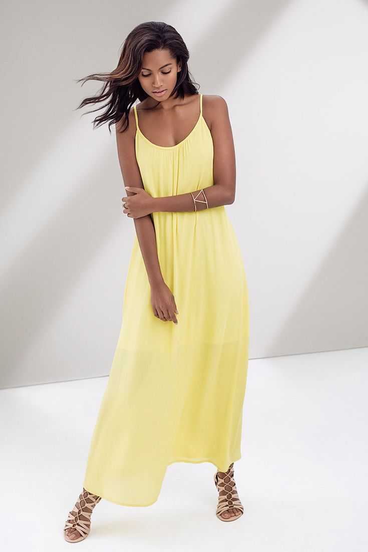 Summer to the max! Sunshine yellow maxi dress. #summerdress #dresses