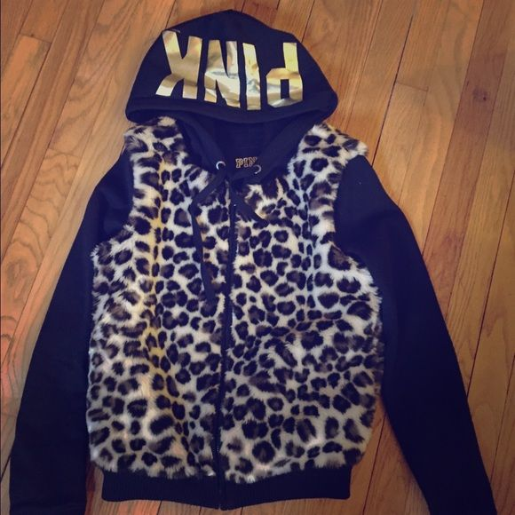 VS zip up extra warm hoodie VS warm and cozy animal print zip up hoodie • black sleeves • PINK logo on hood • perfect as the weather gets less cold  Victoria's Secret Jackets & Coats