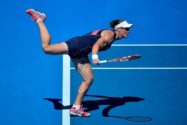 Aussie Samantha Stosur in action on Rod Laver Arena against Jie Zheng, China.