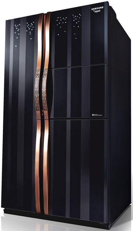 Gem-encrusted fridge, anyone? More specs for this Samsung refrigerator: ink stained glass doors gold trimmed champagne handles A energy rating 740 litre cooling capacity