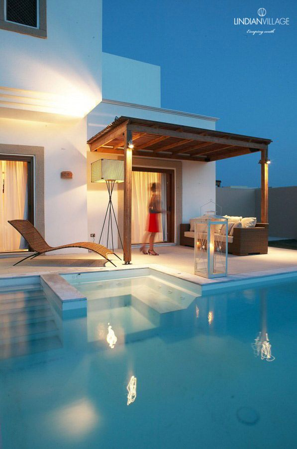 Leisurely evenings in your private haven in Rhodes! More at lindianvillage.gr/