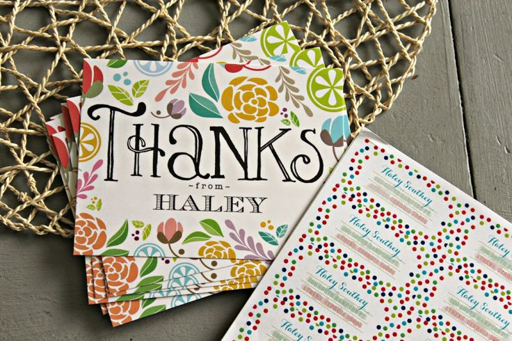 Floral thank you notes and colorful matching address labelsStationary, College Moving Tips, Colleges Moving Tips