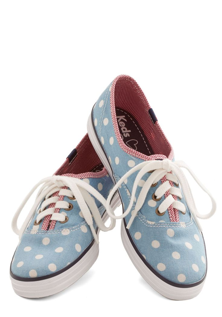 Anything but Simple Sneaker in Dots. While these canvas sneakers from Keds may seem basic at first glance, theyre really anything but! #blue #modcloth