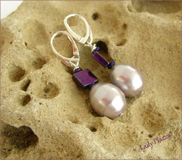 Boucles d'oreilles Argent 925 / Perles de culture Mave/Rose/Violet - Titanium : Boucles d'oreille par ladyplazza