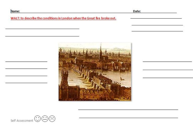 An activity asking pupils to think about London and to describe the conditions/building/people/life etc. using the picture in the centre as a prompt.
