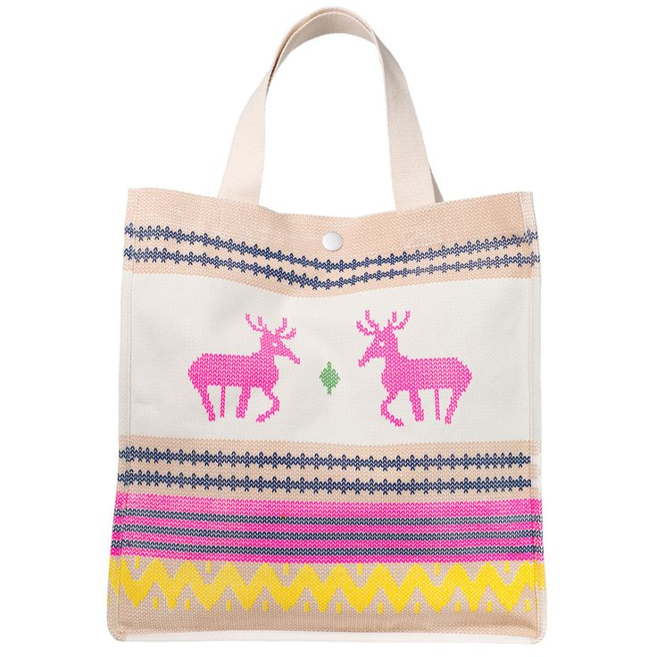 Christmas Bag that isn't kitsch ! Yes it is possible ! Fluoro knit deer Xmas bag, perfect stylish kris kringle !