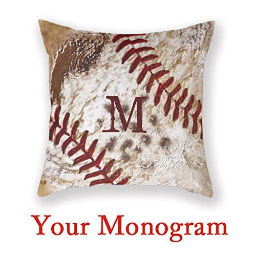 Baseball Man Cave Monogrammed Baseball Home Decor Pillows For Sofa Baseball Room Decor Customize Pillow Baseball Decorations For Room Square Sofa Custom Throw Pillows *** Check out the image by visiting the link. Note: It's an affiliate link to Amazon