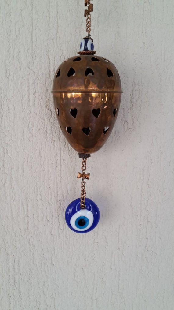 Vintage Evil Eye Wall Hanging Copper wall hanging by Myowncoffee