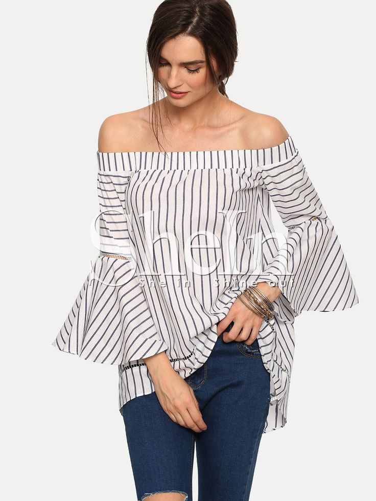 Multicolor Striped Off The Shoulder Bell Sleeve Blouse -SheIn(Sheinside)