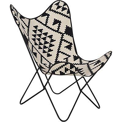 Fauteuil pliant avec assise en toile de jute à motifs