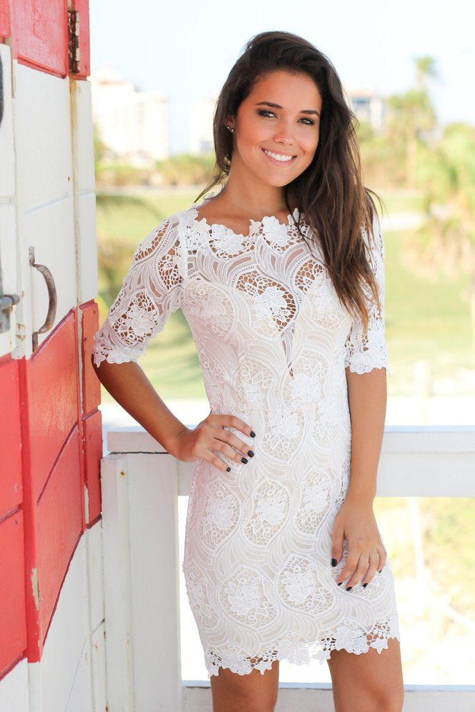 Ivory Crochet Short Dress with 3/4 Sleeves   Cocktail Dresses – Saved by the Dress