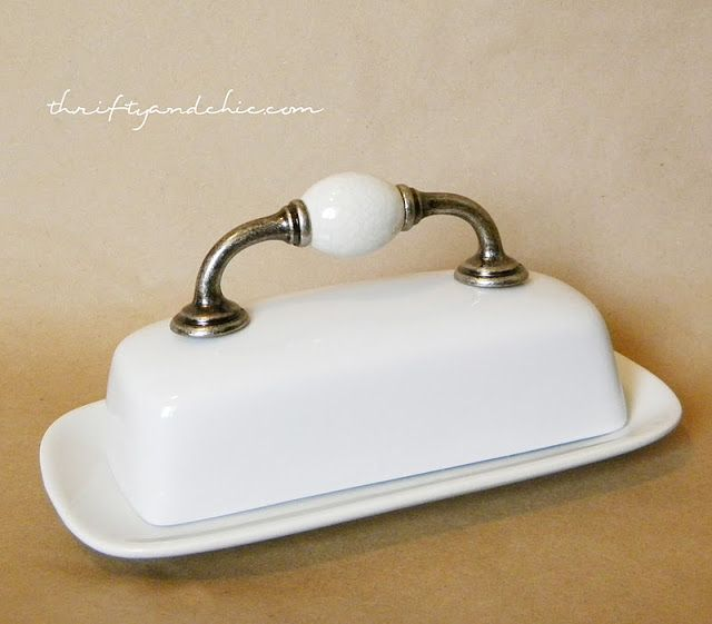 Thrifty and Chic -  door handle glued to a butter dish